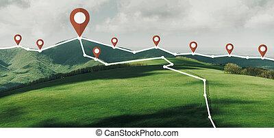 berg, track., verbunden, ort, nadeln, landschaftsbild