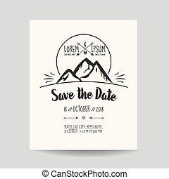 berg, trouwfeest, -, vector, uitnodiging, datum, sparen, kaart