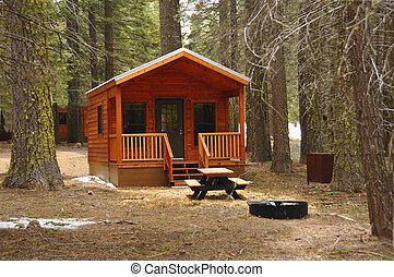 berg, vakantie, cabine