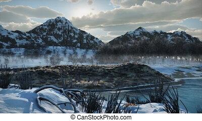 berg vallei, (1087), sneeuw, wildernis