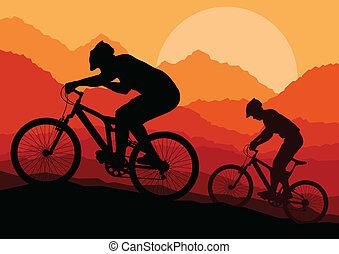 berg, vector, biking, achtergrond, poster