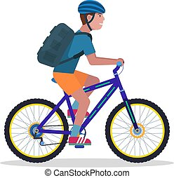 berg, vector, fiets, illustratie, man