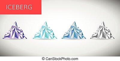 berg, vector, ijs, illustratie