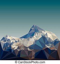 berg, vektor, niedrig, poly