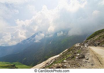 berg, verkehr, straße, schmutz