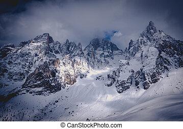 berg, verlicht, beauty, natuur, verbreidingsgebied, winter