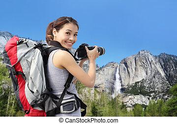 berg, vrouw, afbeeldingen, boeiend, wandelaar, yosemite
