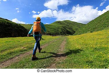 berg, vrouw, backpacking, wandelende, hoogte, hoog, spoor