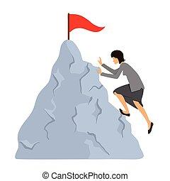 berg, vrouw, doel, zakelijk, reiken, beklimmingen, top., vector, kleren, concept, illustration.