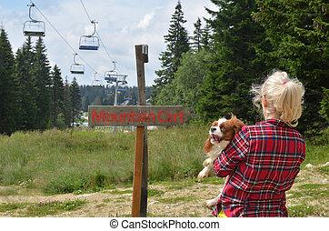 berg, vrouw, dog
