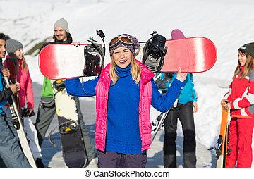 berg, vrouw, groep, winter, mensen, sneeuw, vakantiepark, snowboard, ski