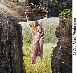 berg, vrouw, modieus