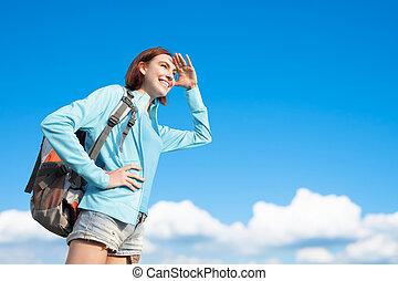 berg, vrouw, wandelaar, vrolijke