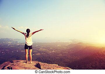 berg, vrouw, yoga, jonge, piek, fitness