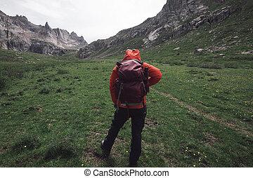 berg, wandelende, hoogte, avonturier, hoog, vrouwlijk