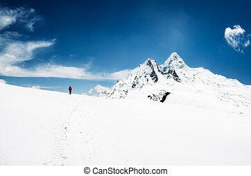 berg, wandelende, pieken, bergen, himalayas, nepal, sneeuw, achtergrond, trekker