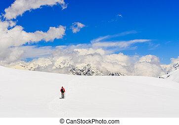 berg, wandelende, winter, bergen, himalayas, hoog, trekker