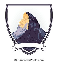 Berg Wappen.eps - mountaintop sign, illustration isolated