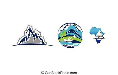 berg, wasserfall, satz, schablone