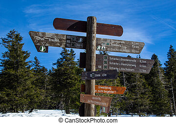 berg, wegwijzer, nationaal park, duitsland, harz