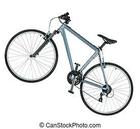 berg, weißes, fahrrad, freigestellt, hintergrund