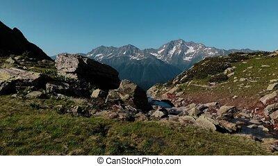 berg, wenig, natur, seen, hoch, wunderbar, ströme