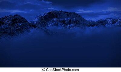 berg, wildernis, besneeuwd, sneeuw, maanlicht, storm, nacht...