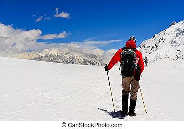 berg, winter, bergen, himalayas, het kijken, hoog, trekker
