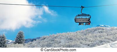 berg, winter, besneeuwd, -, vakantie, vakantiepark, lift, boven, stoel, ski, landscape