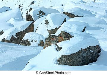 berg, winter, landschap.