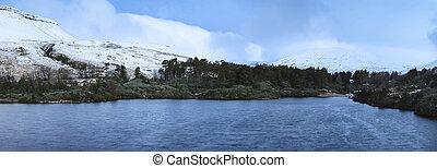 berg, winter, panorama, see, bereich, wald, landschaftsbild