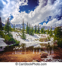 berg, winter, teich