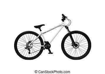 berg, witte , fiets, vrijstaand, achtergrond