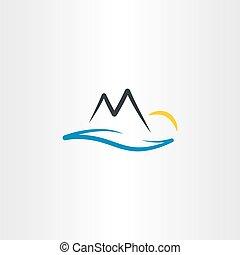 berg, zon, illustratie, vector, rivier landschap