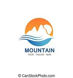 berg, zon, logo, mal, zakelijk
