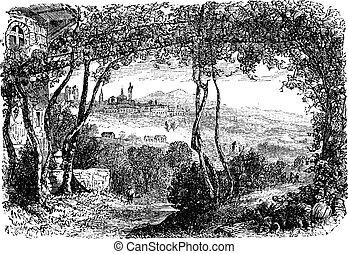 Bergamo, in Lombardi, Italy, vintage engraving