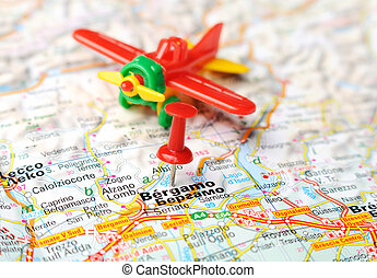 Rimini Italy Map Airplane Close Up Of Rimini Italy Map With Red