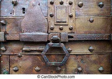 bergamo, puerta, alta, oxidado, perno, viejo, citta, corredizo