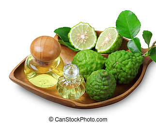 bergamot with aromatic spa of bottles essential oil isolated clipping path