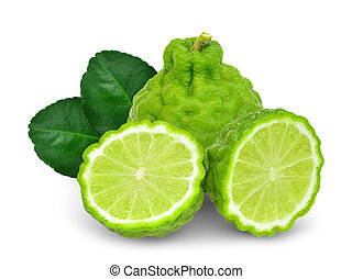 bergamot with half and leaf isolated on white background