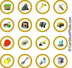 bergbau, kreis, ikone
