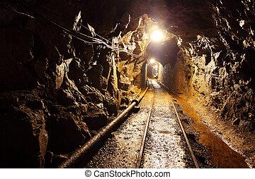 bergbau, spur, -, bergwerk, unterirdische eisenbahn
