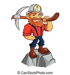 bergbauarbeiter, gold, karikatur