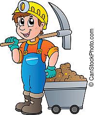 bergbauarbeiter, mit, pickaxe, und, karren