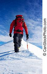 bergbeklimmer, inspanning, besneeuwd, besluit, concepts:, peak., top, wandelingen, moed, self-realization.