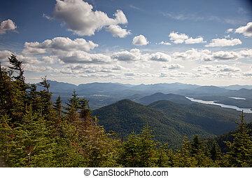 berge, adirondack, wälder, landschaftsbild, seen