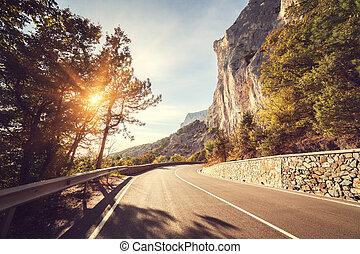 berge, asphalt, sunrise., herbst, crimean, wald, straße
