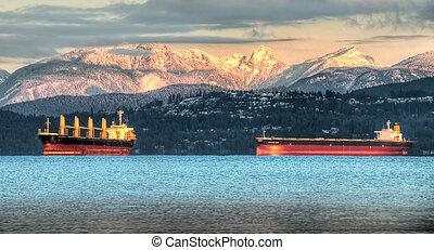 berge, behälter, küsten, vancouvers, schiffe