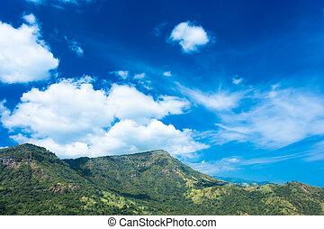berge, blauer himmel, bäume, landschaftsbild, sandstein