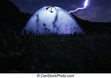 berge, camping, nacht